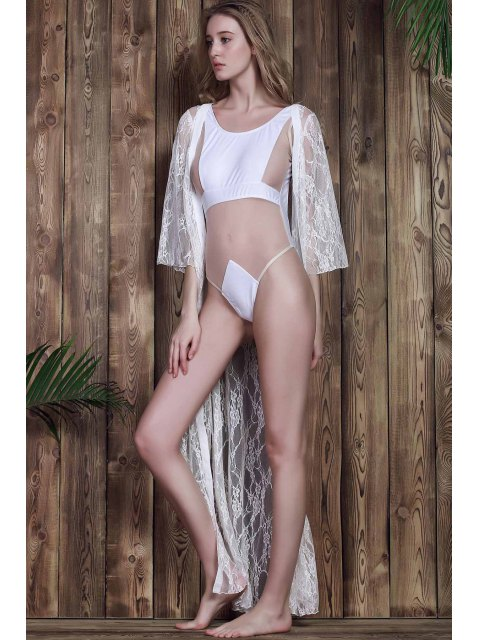 latest Lace 3/4 Sleeve Long Single-Breasted Cover Up - WHITE L Mobile