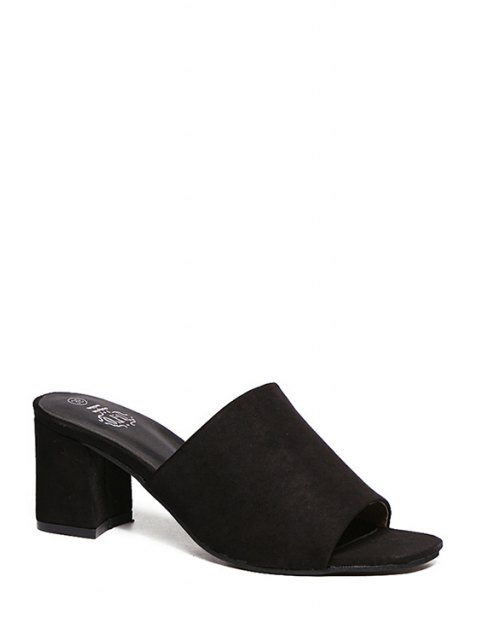 hot Chunky Heel Flock Solid Color Slippers - BLACK 36 Mobile