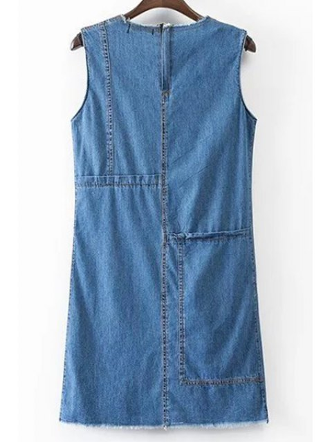 online Solid Color Pocket Round Neck Sleeveless Denim Dress - BLUE L Mobile