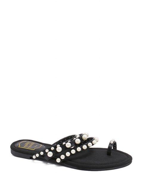 ladies Faux Pearl Toe Ring Black Slippers - BLACK 38 Mobile