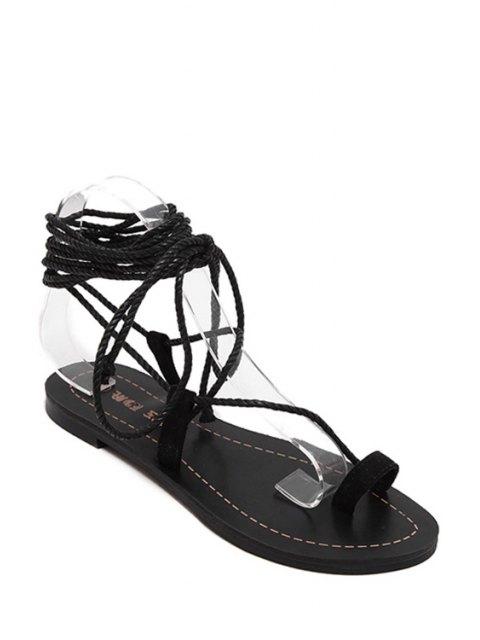 unique Flat Heel Toe Loop Lace-Up Sandals - BLACK 36 Mobile