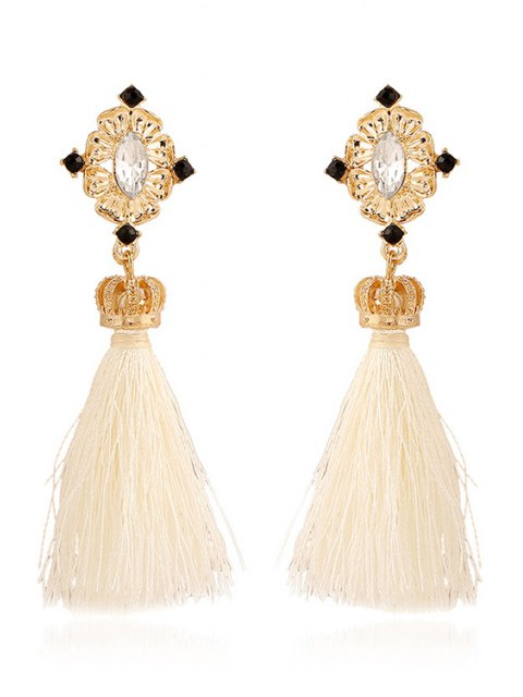 fancy Rhinestone Crown Tassel Pendant Earrings - WHITE  Mobile