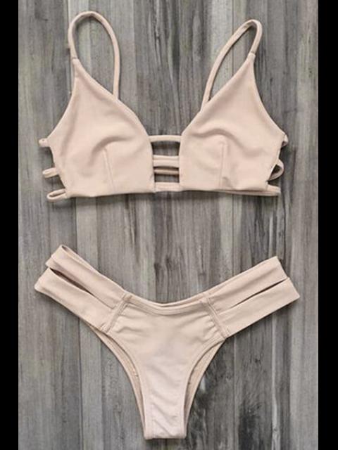 best Caged Bandage Bikini Swimwear - YELLOWISH PINK M Mobile
