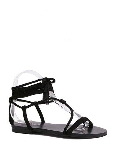 Flat Heel Tassel Lace-Up Sandals - Black