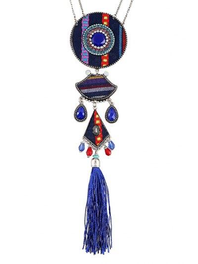Tassel Ethnic Style Pendant Necklace - BLUE  Mobile