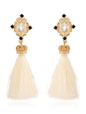 Rhinestone Crown Tassel Pendant Earrings - White