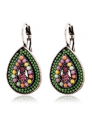 Bead Water Drop Pendant Earrings - Green