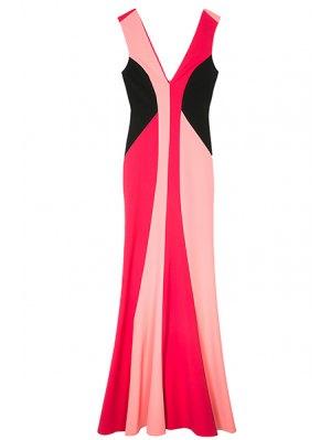 Double-V Color Block Maxi Mermaid Prom Dress