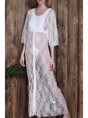 Lace 3/4 Sleeve Long Single-Breasted Cover Up - White