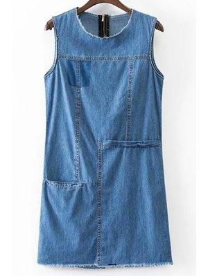 Solid Color Pocket Round Neck Sleeveless Denim Dress - Blue