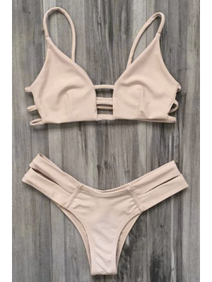 Caged Bandage Bikini - Yellowish Pink