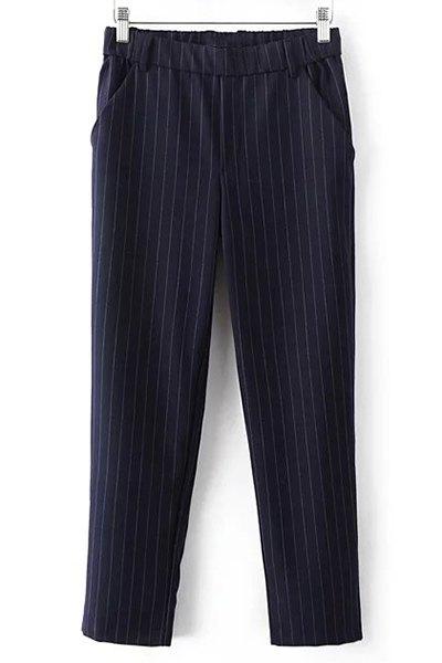 High Waist Elastic Waist Drawstring Striped Pants