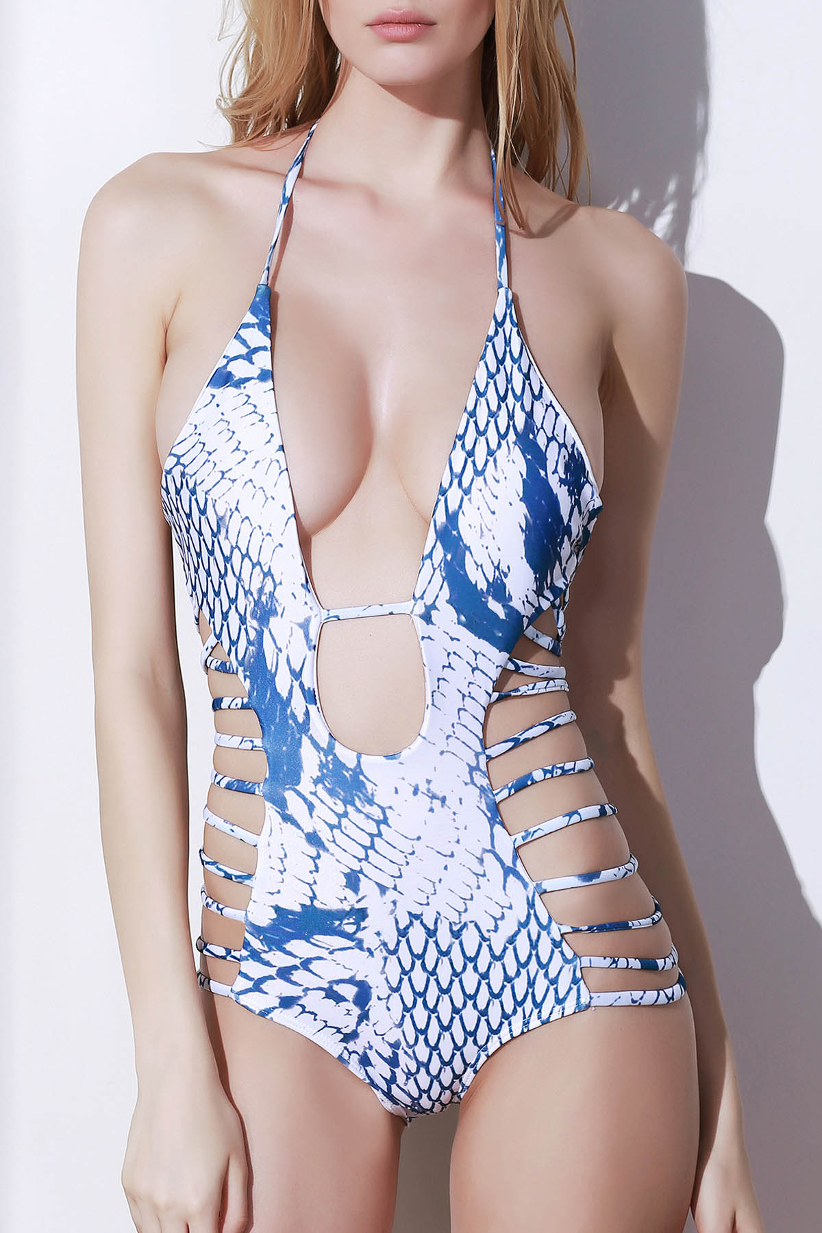 Halter Snakeskin Print High Cut One-Piece Swimwear