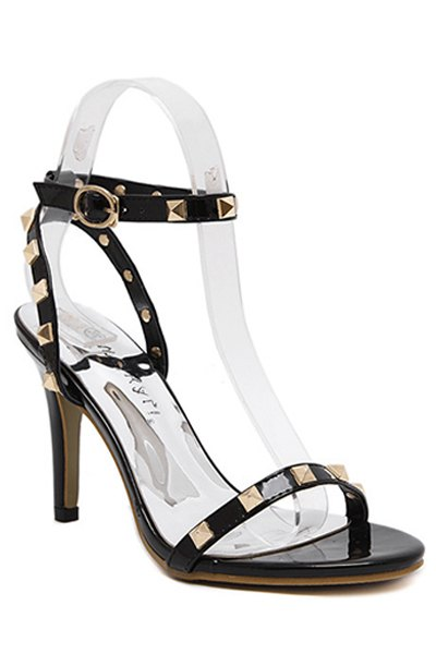 Rivet Ankle Strap Stiletto Heel Sandals