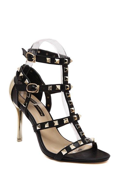 Buy Rivet T-Strap Stiletto Heel Sandals BLACK 35