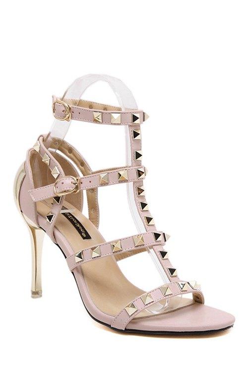 Buy Rivet T-Strap Stiletto Heel Sandals PINK 39