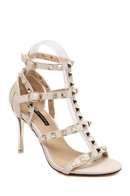 Rivet T-Strap Stiletto Heel Sandals