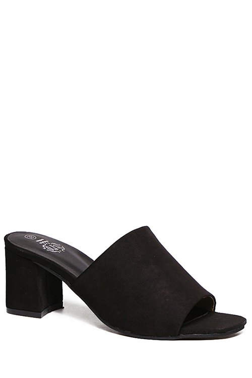 Chunky Heel Flock Solid Color Slippers