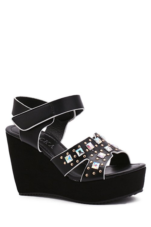 Buy Rivet Platform Wedge Heel Sandals BLACK 38