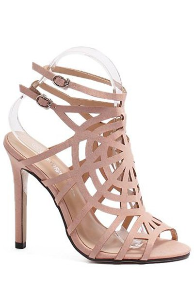 Buckle Hollow Out Stiletto Heel Sandals - PINK 39