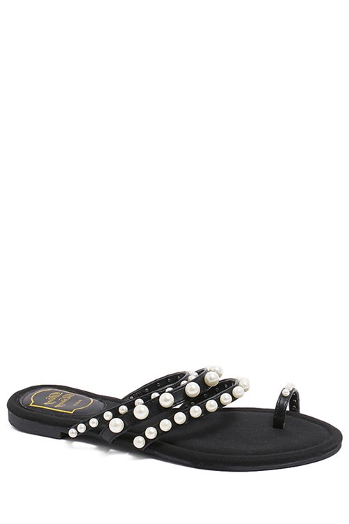 Faux Pearl Toe Ring Black Slippers