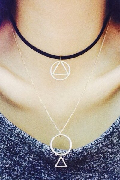 Hollow Round Triangle Pendant Double Necklace For Women