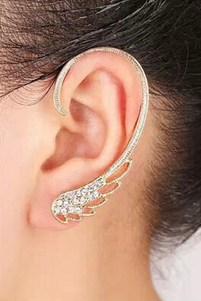 Rhinestones Hollow Wings Clip Earrings