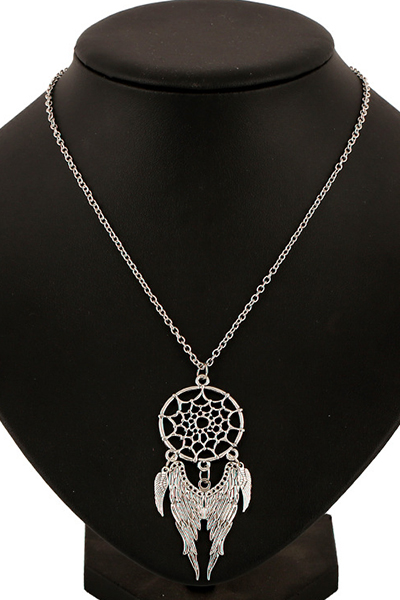 Wings Hollow Out Spider Web Pendant Necklace