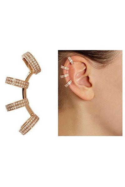 Rhinestones Circle Clip Earrings For Women