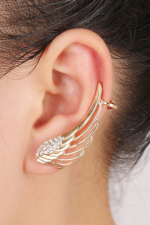 Rhinestones Hollow Out Wings Clip Earrings For Women