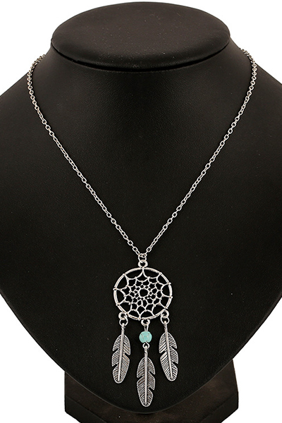 Feathers Hollow Out Spider Web Pendant Necklace