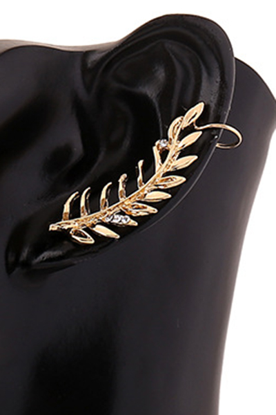 Rhinestones Leaf Clip Earring For Women