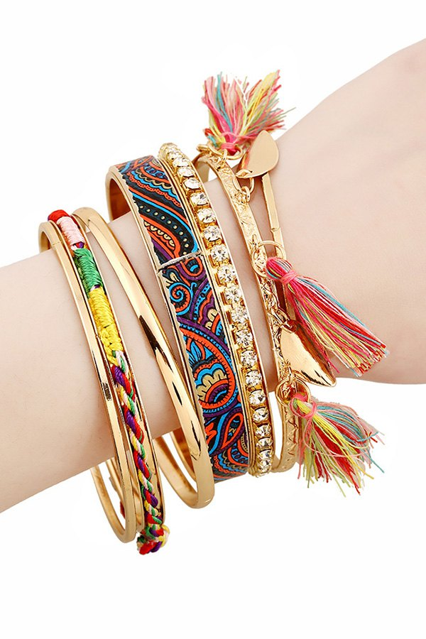 Rhinestone Tassel Ethnic Bracelets For Women