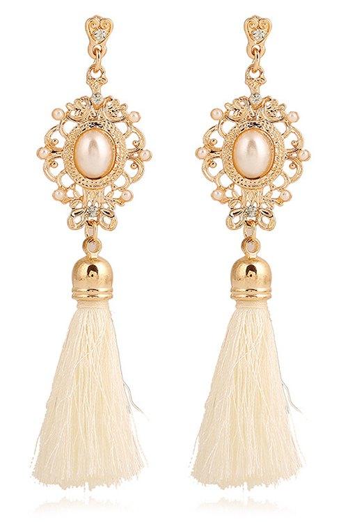 Faux Pearl Tassel Pendant Earrings For Women