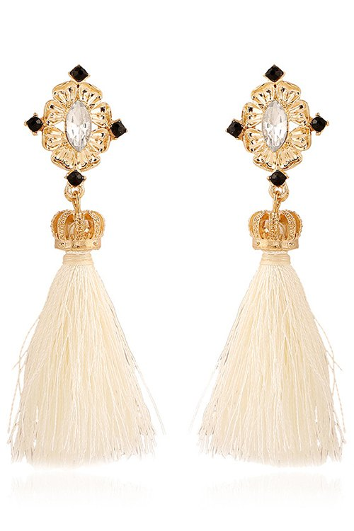 Rhinestone Crown Tassel Pendant Earrings For Women
