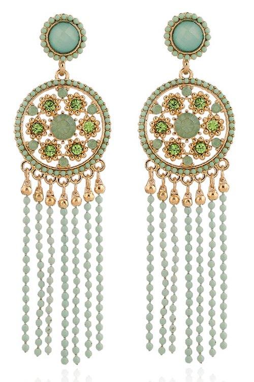 Beaded Tassel Round Pendant Earrings For Women