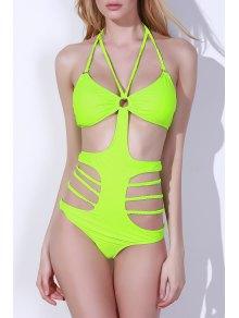 Hollow Halter High Waist One-Piece Swimwear