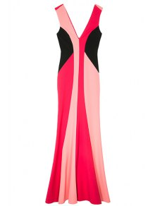 Double-V Color Block Maxi Mermaid Prom Dress