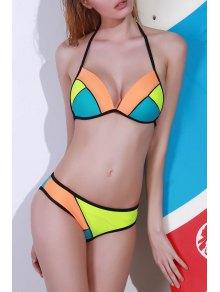 Hit Color Halterneck Bikini Set