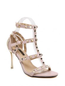 Rivet T-Strap Stiletto Heel Sandals - Pink 37