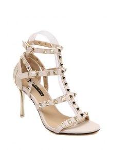 Buy Rivet T-Strap Stiletto Heel Sandals 39 OFF WHITE