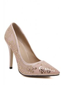 Buy Sequined Floral Pointed Toe Pumps - APRICOT 36