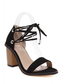 Flock Chunky Heel Lace-Up Sandals