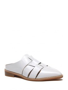 Pointed Toe Patent Leather Flat Heel Sandals - White 38