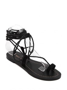 Flat Heel Toe Loop Lace-Up Sandals