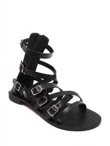 Buy Cross-Strap Buckles Flat Heel Sandals 38 BLACK