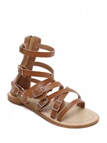 Buy Cross-Strap Buckles Flat Heel Sandals 38 BROWN