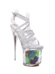 Pailletée Cross-Strap Sandals Super High Heel - Argent