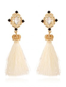 Rhinestone Crown Tassel Pendant Earrings - White