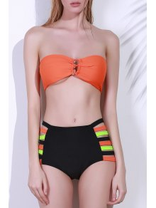 Strapless High-Waisted Bikini Set - Orange